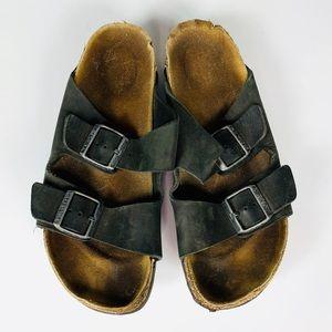 Birkenstock Sandals Leather Black Size 9